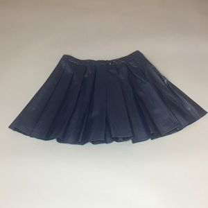 ASTR Faux navy leather pleated skirt-Size: Large